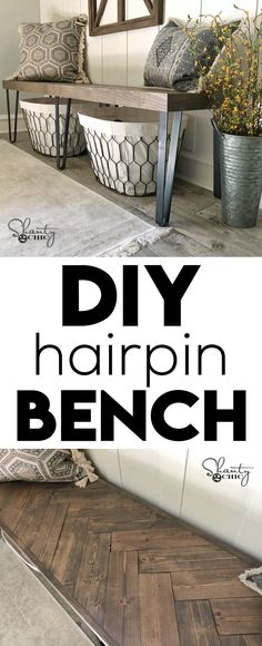 DIY Beefy Hairpin Bench - Shanty 2 Chic Start building amazing sheds the easier way with a collection of shed plans!at/bruAQ DIY Beefy Hairpin Bench - Shanty 2 Chic Home Diy, Furniture Diy, Easy Home Decor, Home Improvement, Home Furniture, Diy Decor, Diy Bench, Home Decor, Home Decor Tips