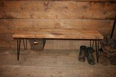 Aufgearbeiteten Holz Bench - W / Haarnadel Beine und Locker Korb 3 Stück rustikale Industrial Bank mit Haarnadel Beine