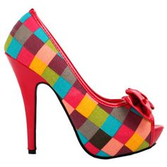 1211e53918831 Sexy Multi Coloured Check Tartan Bow Platform Stiletto Shoes Shoes Heels  Boots