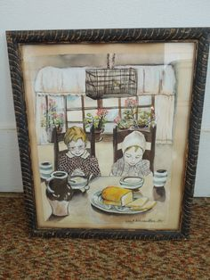 Fantastic original watercolor as you can see. Signed and dated 1955. Painting has both a folk art and somewhat eerie feel to it. I like this one a lot. Inventory #3381    frame size 15 3/4 x 18 3/4  Painting Size 12 x 15 3/8