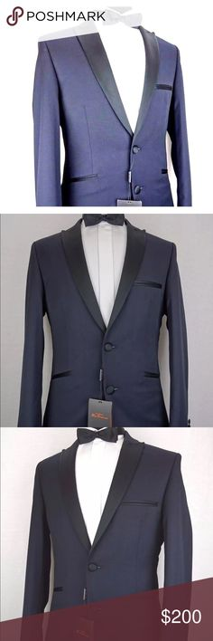 Ben Sherman This dress wear suit from Ben Sherman is ideal for any black tie event/ prom season and is guaranteed to make an impression. The jacket features black contrast edging on the pockets, buttons and striking satin notch lapels. The trousers are waist adjustable and are easily taken in or let out. The colour is a navy blue, the jacket can be worn alone as an outfit with jeans to make an individual style statement, the style is a camden super slim fit.  Jacket is 40 R W34 L31 Ben…