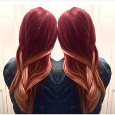 Red to Blonde balayage ombré