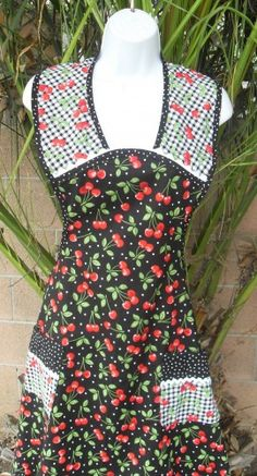 Apron 40s Vintage Style Sweet Cherry and Gingham