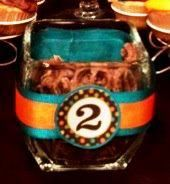 Party Decor, Fun way to spruce up jars for a Candy Bar!