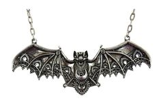 Beautiful and amazing detailed Bat pendant necklace features intricate lace detailed bat wings and body with alchemical symbols.You can adjust the chain necklace length to short to long. - Bat Pendant