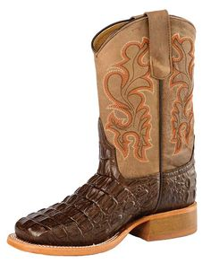 Anderson Bean Children's Bone Mad Dog and Chocolate Croc Print Broad Square Boot Anderson Bean, Kids Boots, Western Wear, Boys Shoes, Brand You, Crocs, Cowboy Boots, Bones, Shoe Boots