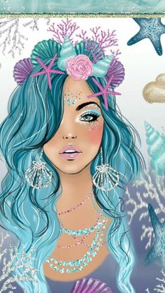 I also found this one while I was looking for pictures for my birthday party tomorrow this is a queen to mermaids and I'm her! Mermaid Wallpapers, Cute Wallpapers, Wallpaper Backgrounds, Desenho Pop Art, Pretty Drawings, Mermaid Art, Mermaid Gifs, Art Girl, Watercolor Art