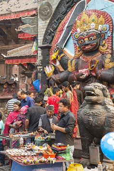 Worshipping 'Kala Bhairab' - Shiva at his most fearsome... by Hulivili on Flickr - Kathmandu, Nepal