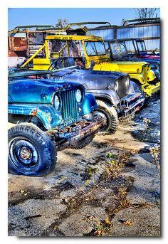 Jeep bone yards like this are fun to pick thru ! Jeep Cj7, Jeep Wrangler Yj, Jeep Wrangler Unlimited, Jeep Jeep, Jeep Cherokee, Vintage Jeep, Pop Art, Old Jeep, Cool Jeeps