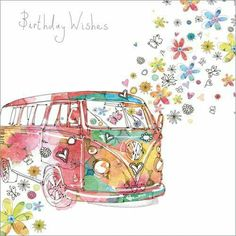 Happy Birthday VW camper van greetings card flowers hippy funky young old http://www.phoenix-trading.co.uk/web/lauraclarke