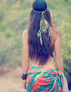 gaia's daughter... bohemian headdress // feather, hair, hippie, boho, headress, hair feather, wedding, festival