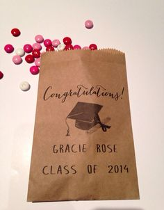 Graduation, Candy Buffet Bag, Favor Bags, Cookie Bar, Custom Treat Bags, Personalized Bags, Graduation Party, Graduation Favor 25  bags on Etsy, $20.00