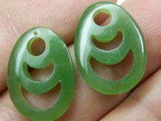 Burmese Jade matched pair green Jade carvings by DanPickedMinerals, $99.75