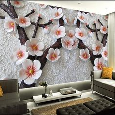 Three-dimensional plum flowers in branches. Over-sized floral mural. Trend nursery decoration.