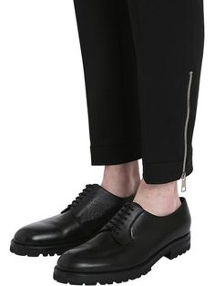 neil barrett - men - pants - wool tricot trousers w/ zipped hem