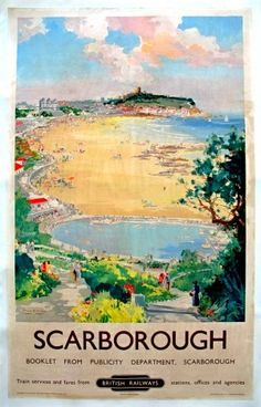 Scarborough by Frank Mason. An expansive view of the boating lake, beach and castle in the distance. Vintage Advertising Posters, Vintage Travel Posters, Art Deco Posters, Poster Prints, Castle Painting, British Travel, Railway Posters, Paris Travel, Travel Ads