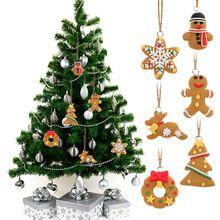 2016 6 pcs de Natal Polymer Clay Pingentes Ornamento de Suspensão Da Árvore de Natal Decoração de Presente Para O Festival Decoração Do Partido(China (Mainland))
