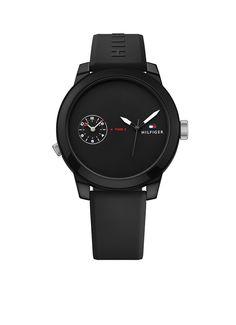 24613a443f01 Tommy Hilfiger Horloge Denim siliconen zwart 44 mm TH1791326