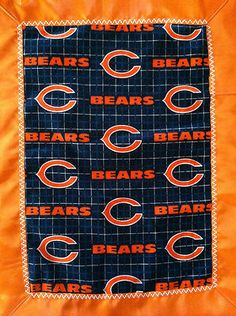 Chicago Bears Football Flannel Satin Sports Baby Blanket 18x14"