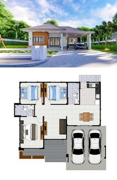 Three Simple but Charming Bungalow Designs with Three Bedrooms - Three Simple but Charming Bungalow Designs with Three Bedrooms - Modern Bungalow House Design, Bungalow Designs, Simple House Design, Small Bungalow, Sims House Plans, House Layout Plans, New House Plans, Small Modern House Plans, Philippines House Design