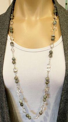 Labradorite Necklace Long Gemstone Necklace Long Beaded