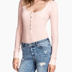 H&M Pink Long Sleeve Button Henley  Price is negotiable   incredibly soft, This shirt has only been worn a few times and is in great condition. Price is negotiable. (Covershot from H&M) H&M Tops