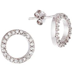 Lord & Taylor Cubic Zirconia Circle Stud Earrings ($16) ❤ liked on Polyvore featuring jewelry, earrings, silver, cz jewelry, zirconia earrings, stud earrings, circular earrings and studded jewelry