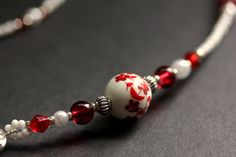 Badge Lanyard. Red Eyeglass Chain. Red Flowers Glasses Necklace. Handmade Eyeglass Holder. White Beaded ID Lanyard. Red Floral Lanyard. by Gilliauna from Bits n Beads by Gilliauna. Find it now at http://ift.tt/223uI8C!