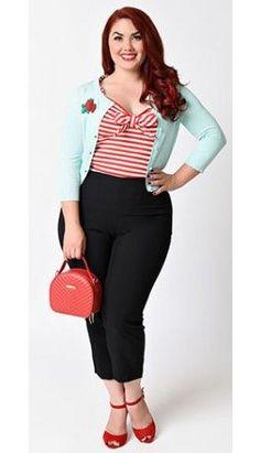 Plus Size 1950s Rockabilly Style Black High Waist Stretch Capri Pants