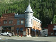 Wallace, Idaho they filmed part of the movie Dante's peak here. This building can easily be seen in the movie