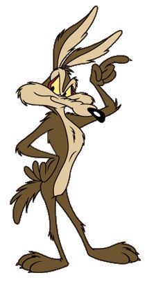 Looney Tunes Wile E Coyote ~ Coyote repeatedly attempts to catch and eat the Road Runner, but is never successful. Coyote, instead of his species' animal instincts, uses absurdly complex contraptions  and elaborate plans to pursue his prey, which always comically backfire with Wile normally getting injured by the slapstick humor. He is generally silent in the Coyote-Road Runner cartoons. TV Guide included Wile E. Coyote in their list of The 60 Nastiest Villains of All Time.