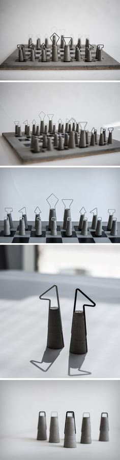 The Fortify chess set celebrates concrete and its contribution to civilization by using it in the most apt game possible. Chess, battle between warring kingdoms/factions gets its much needed update…More Cement Art, Concrete Cement, Concrete Furniture, Concrete Crafts, Concrete Projects, Concrete Design, Farmhouse Furniture, Beton Design, Ideias Diy