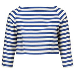 Olympia Le-Tan Blue Stripe Cropped Beagle Top (370 AUD) ❤ liked on Polyvore featuring tops, shirts, crop tops, blusas, blue top, cropped tops, boat neck tops, button shirt and blue stripe shirt