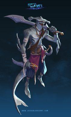 ArtStation - Beneath the waves - Character/Creature challenge, Jesus Blones Fantasy Races, Fantasy Art, Fantasy Creatures, Sea Creatures, Character Concept, Character Art, Scary Mermaid, Shark Art, Humanoid Creatures