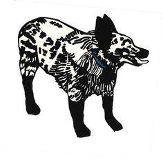 Sunny dog lino print