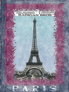 Paris Illustration for Decoupage