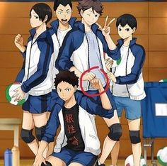 IWAOI AND THEN THERE'S LITTLE KAGS TUGGING ON OIKAWA'S JACKET