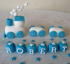 HANDMADE EDIBLE TRAIN CHRISTENING BIRTHDAY CAKE TOPPER | eBay