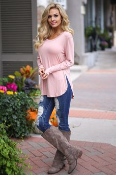 Heart Is In Montana Top - Blush