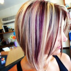 Blonde and plum hair color inspiration. Hair Color And Cut, Cool Hair Color, Hair Colour, Plum Color, Plum Hair Colors, Short Hair Colors, Color Mix, Haircut And Color, Burgundy Color