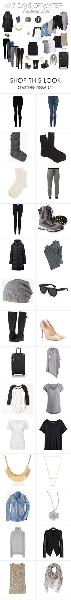 7 Days of Winter Packing List by encircled on Polyvore featuring Rick Owens, J.Crew, H&M, KaufmanFranco, Cotton Citizen, Pieces, American Eagle Outfitters, Loro Piana, Uniqlo and Helmut Lang