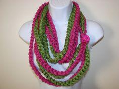 Rose vert infini Scarf, foulard chaîne, écharpe de boucle, écharpe en cercle, indie écharpe foulard éternité, l'infini écharpe au crochet, tricot capot