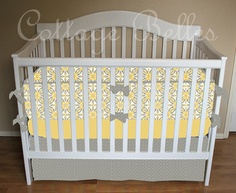 Gray and yellow baby bedding :)
