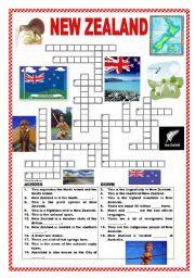 English worksheet: New Zealand crossword