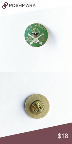 """Vintage US Army Enamel Pin Vintage United States Army Enamel Pin  • true vintage • 1"""" • colors: green, white, black, gold • """"mess with the best - die like the rest"""" • tags: hat, lapel, vest, jacket, stars, USA, America, United States, american eagle, special forces, ops, guns, helmet, skull, crossbones, creepy, scary, military, service, veteran, war, semper fi, marines, uniform  • all of the pins I sell are vintage and may contain minor nicks, imperfections, or oxidation Vintage Accessories"""