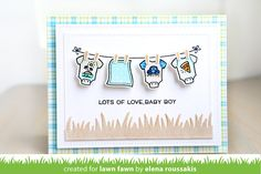 the Lawn Fawn blog: Lawn Fawn Little Bundle baby card by Elena Roussakis.
