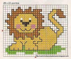 Cantinho das Artes da Cássia: Leão em ponto cruz