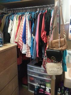 Closet Space In Stangel. Skinny Hangers And Command Hooks Are Your Friends.  If You