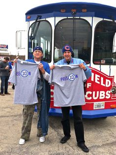 #Cubs fans show their PASS10N by sporting their Ron Santo shirts at the Trolley before a Cubs game at Wrigley Field.