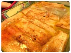 Sinful Peach Enchiladas Recipe A lady brought these to work one day, and I knew I had to try them out. The butter seems like a lot, but I tried it with less-no good. That's why I only make them once a year for my husband, who is a fan of this recipe. Fruit Recipes, Mexican Food Recipes, Sweet Recipes, Dessert Recipes, Cooking Recipes, Mexican Desserts, Pie Recipes, Cookie Desserts, Easy Desserts